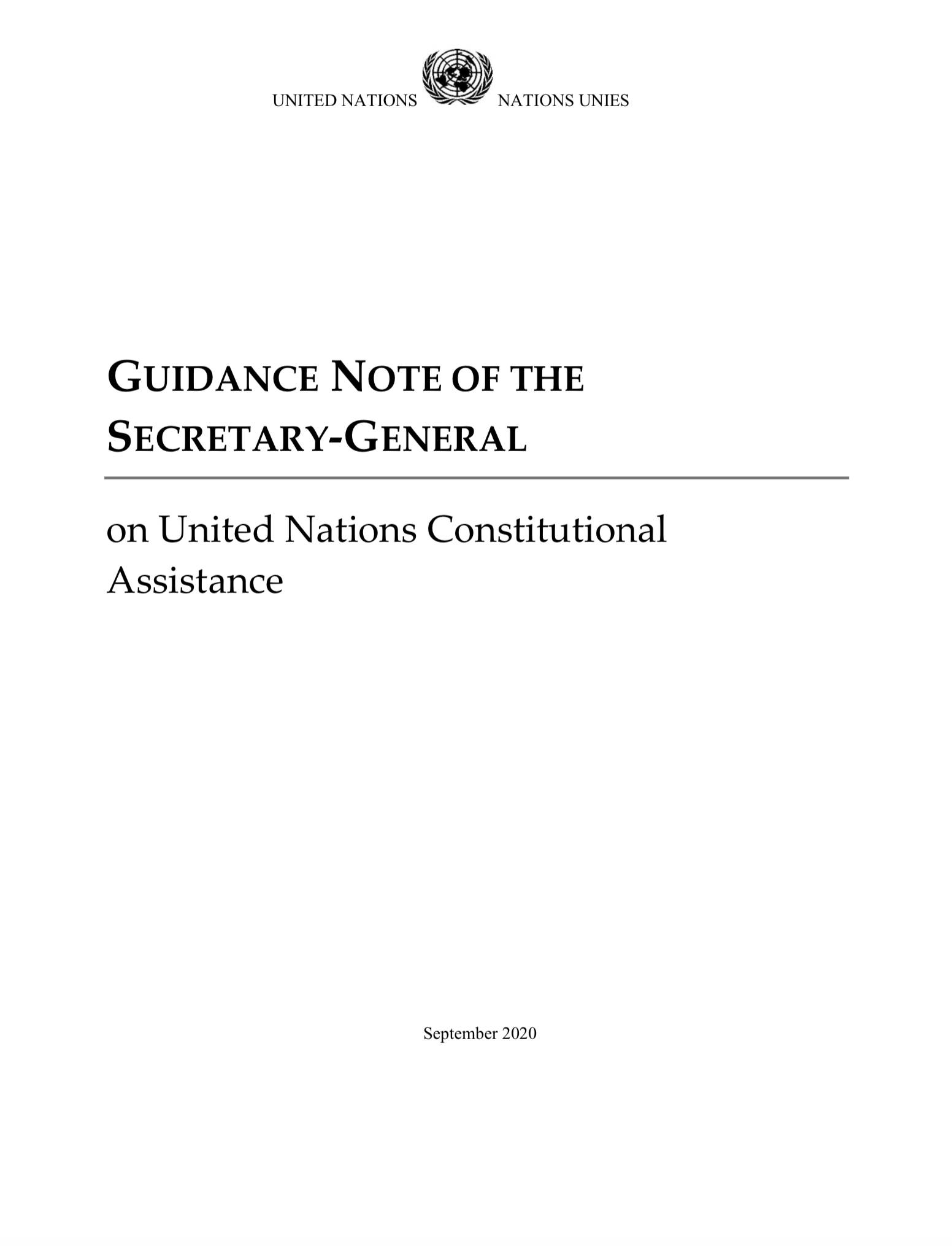 Guidance Note of the Secretary-General on United Nations Constitutional Assistance